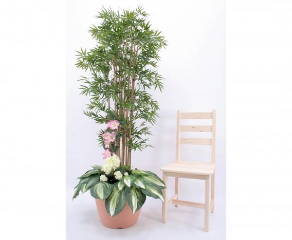 Bambus Kunstbaum Arrangement mit weißen Geranien, Höhe 180cm