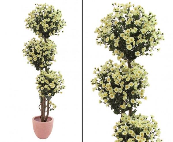 Künstlicher Margaritenkugelbaum  3-fach im Topf Höhe ca. 160cm