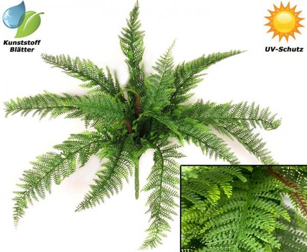 Farn Busch Kunstpflanzen für den Außenbereich mit 15 UV-sichere PE Blattzweige Durchmesser 75cm