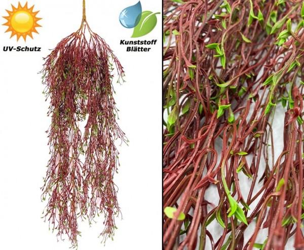 Wetterfester roter Fichten Busch mit 6 UV-sicheren PE Blattzweige Länge 78cm