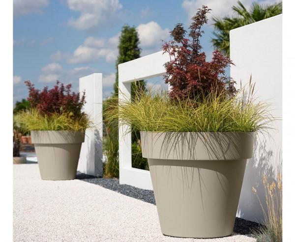 Gut und günstiger Übertopf sandfarben Höhe 31cm und Ø 35cm passend für fast alle Kunstpflanzen