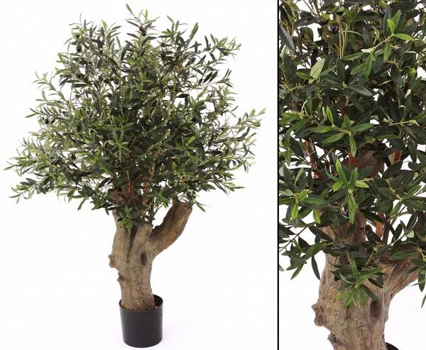 Künstlicher Olivenbaum mit dickem Stamm Höhe ca. 140cm und 42 Oliven