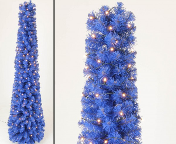 Künstlicher blauer Christbaum Kasan in Kegelform 180cm, 192 LEDs