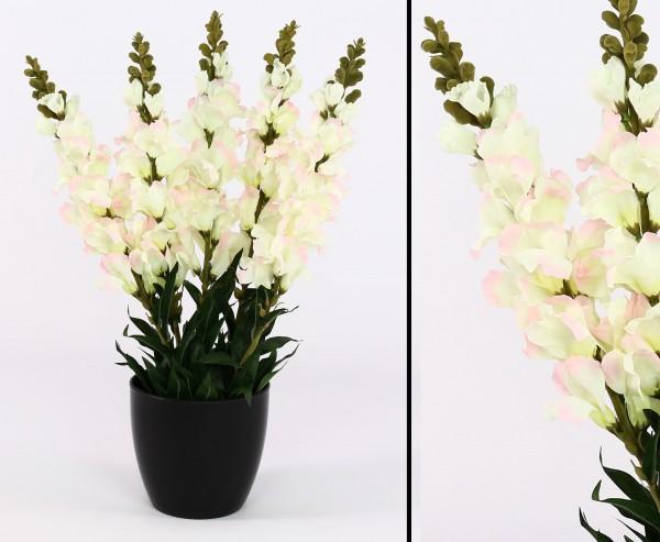 Kunstblume Löwenmäulchen mit weißen Blüten im Topf 64cm