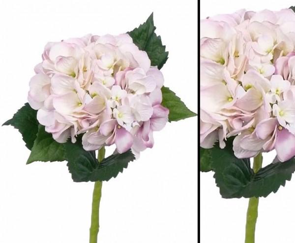 Hortensie Kunstblume mit weiß- rosa farbiger Blüte Länge 48cm
