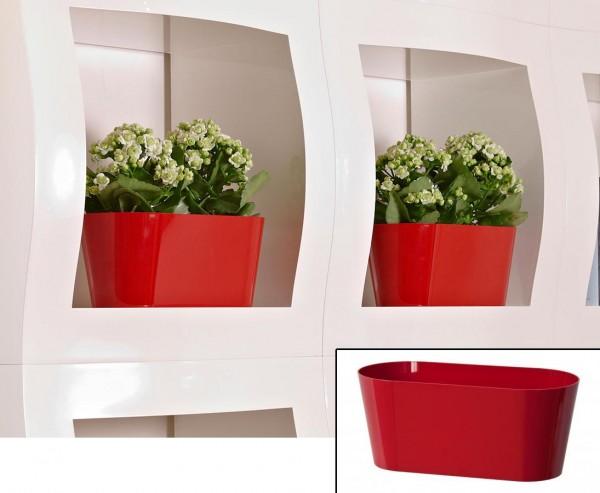 Schale für Kunstpflanzen rot mit H:12x B: 28,5cmx T:13cm aus PP