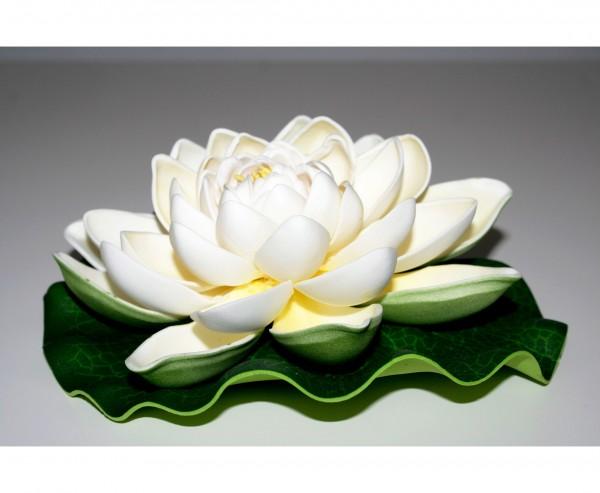 Lotus Kunstblume schwimmend mit weißen Blüten Durch. 17,5cm
