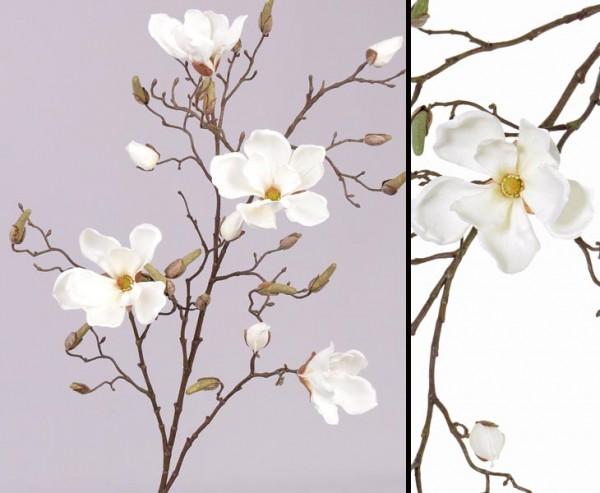 Zweig Deko Magnolien, 4 Blüten weiß, Höhe 107cm
