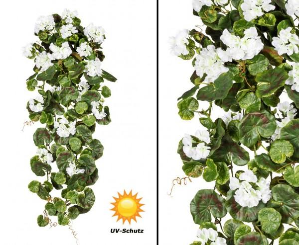 Geranien Hänger mit 17 weißen Kunstblumen UV-Beständig, 80cm