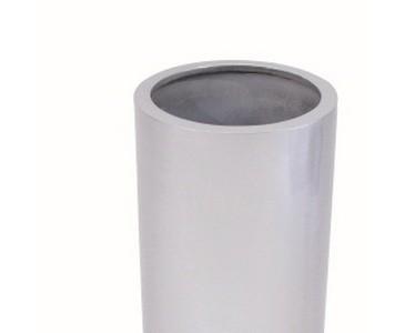 Pflanzkübel Kunststoff, silber glänzend lackiert, besonders leicht nur ca. 4,40kg, Höhe 80cm