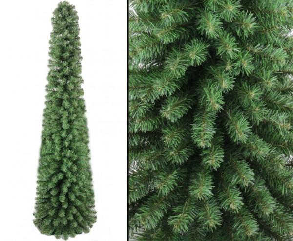 Kegelförmige Christbaum Säule Kasan 210cm schwer entflammbar mit 496 Zweigen