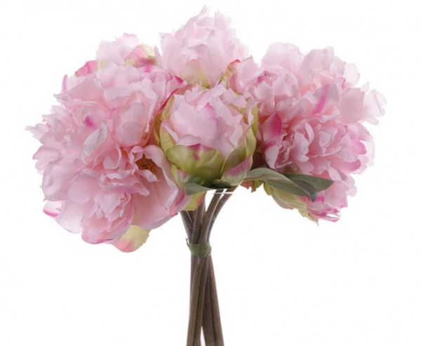 Kunstblumen Bouquet aus rosa farbigen Pfingstrosen 25cm hoch