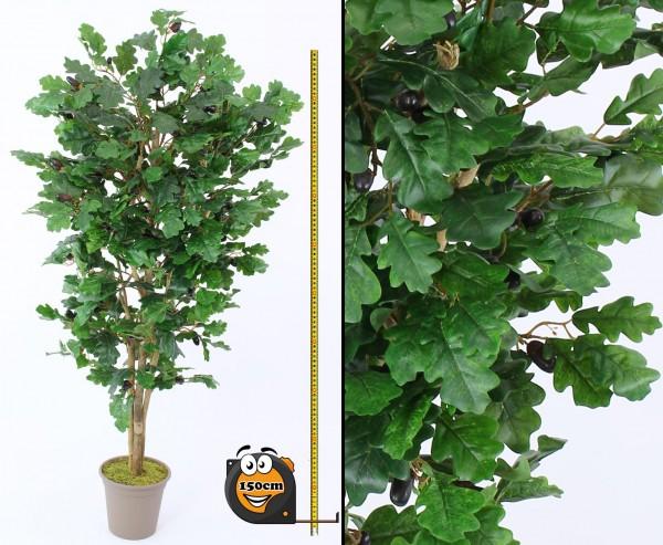 Kunstbaum Eiche 150cm mit 525 Textilfaser Blätter und Naturstämme