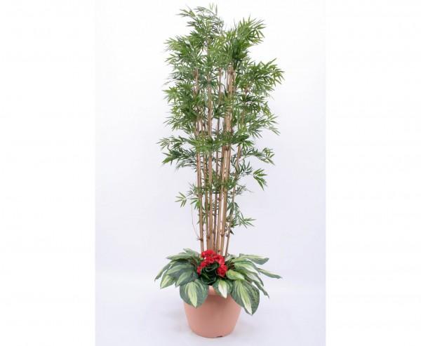 Kunstpflanzen Arrangement Bambus mit roten Geranien Höhe 210cm