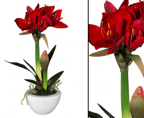 Amaryllis Kunstpflanze rot im Keramiktopf mit 43cm