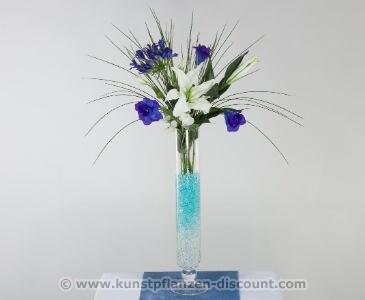 Kunstblumen Arrangement Lilien blau, Höhe 83cm