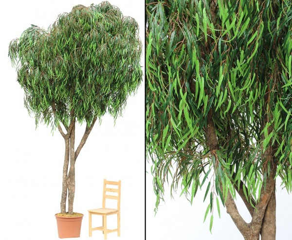 Weiden Kunstbaum XL 400cm mit 9840 Textilfaser Blätter UV-sicher und Naturstämmen im Topf