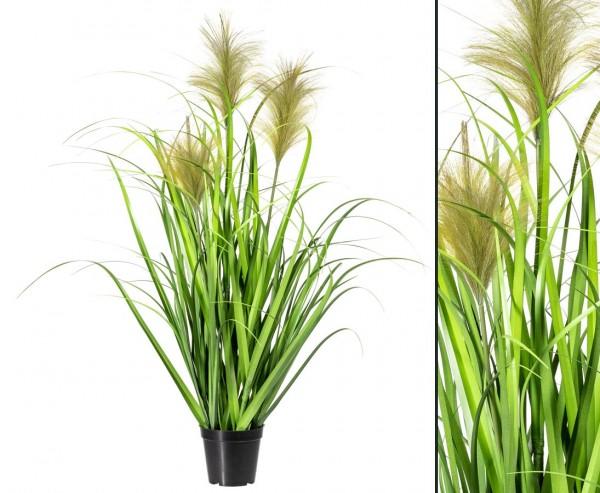 Gras künstlich mit 3 Binsen Blüten 90cm im Topf