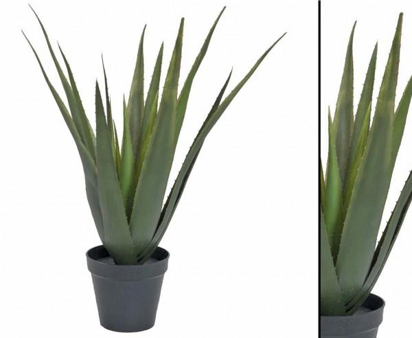 Aloe vera Kunstpflanze, mit 18 Blätter, im dekorativen Topf, Höhe ca. 60cm