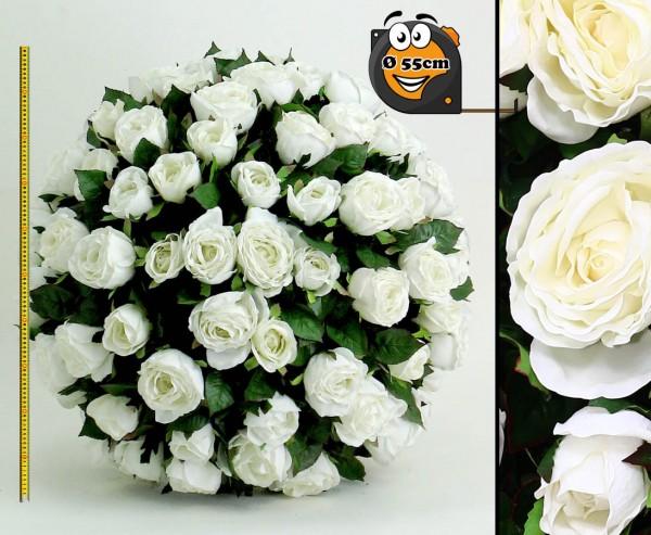 Künstliche Rosenkugel mit weißen Blüten Durch. 55cm Kern aus EPS
