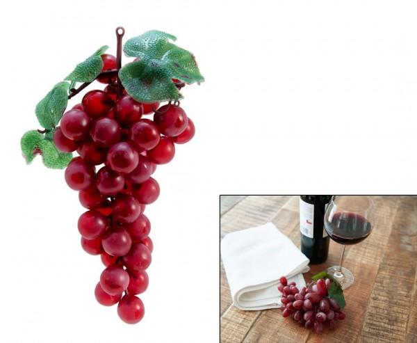 Deko Obst, mit 48 roten Trauben und Blättern, Länge 20cm