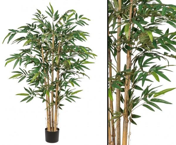 Bambusbaum Multistamm mit Topf, 720 textilen Blättern, 150cm