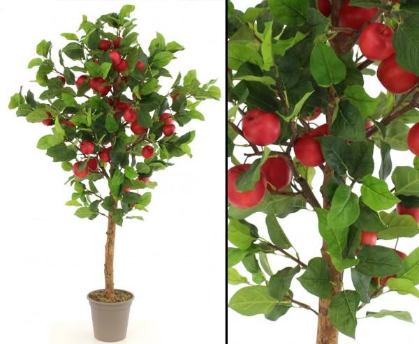 Apfel Kunstbaum 160cm mit 39 roten Äpfeln in Premium Qualität