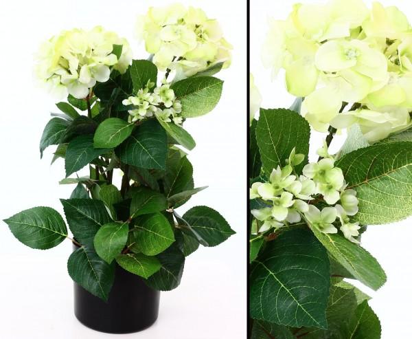 Künstliche Hortensie im Topf, 50cm hoch mit lemon farbigen Blüten