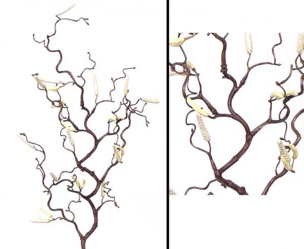 Künstlicher Haselnußzweig, mit 18 Kätzchen, Höhe ca. 66cm