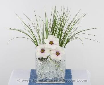Anemonen-Gras Arrangement, weiß, Höhe 60cm