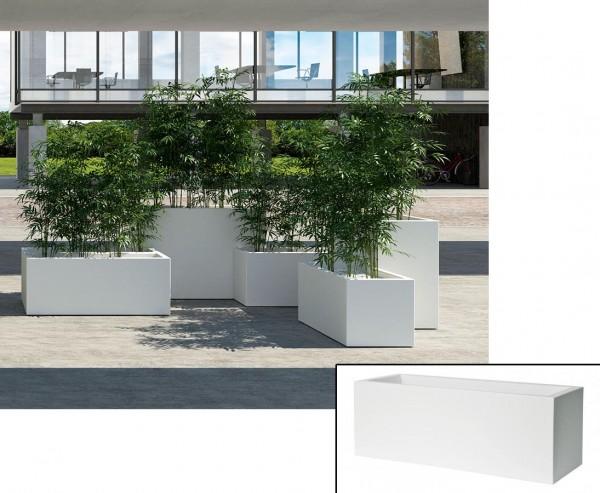 Pflanztrog weiß als Kube mit 80x30x30cm aus Kunststoff zur Bepflanzung