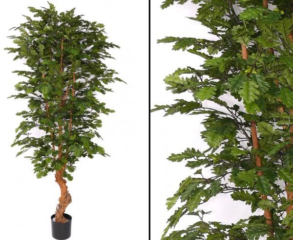 Künstlicher Eichenbaum mit Echtholzstamm und 2688 Blättern Höhe 210cm