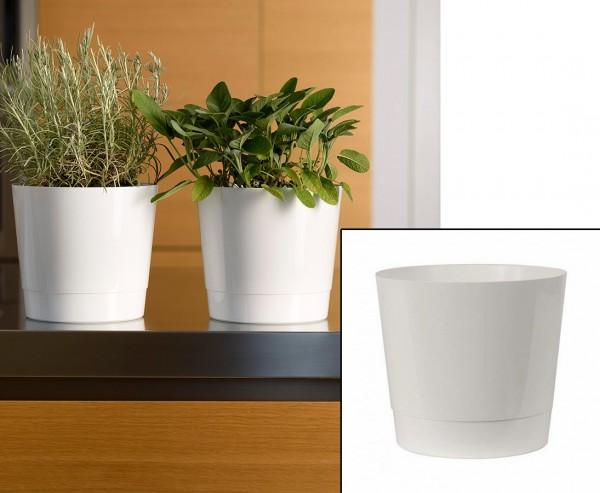 Rollbarer Übertopf in Weiß Höhe 39cm und Ø 40cm perfekt für mobile Bepflanzungen