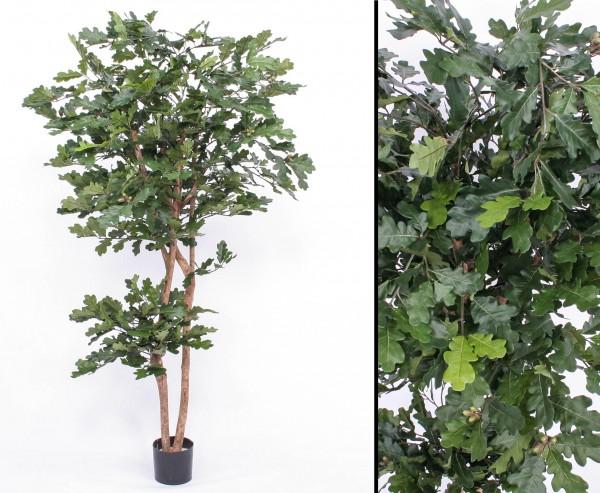 Künstlicher Eichenbaum mit 2 Echtstämmen 1054 Blätter Höhe 180cm