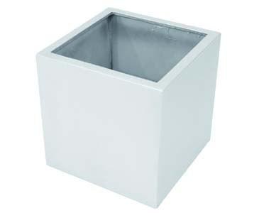 Blumenkübel Kunststoff, silber glänzend, quadratische Form mit Höhe und Durch. von ca. 50cm