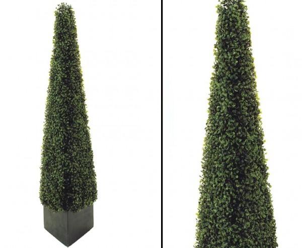Künstliche Buchsbaum Pyramide 136cm hoch mit Topf
