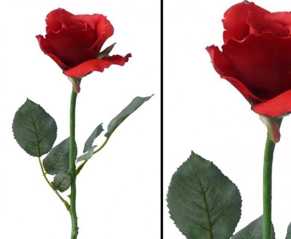 Kunstblumen, Rose Alice, mit 2 Äste und rot farbiger Blüte, Länge 58cm, Durch. 8cm