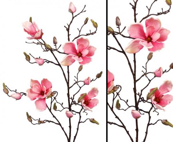 Deko Zweig Magnolien rosa, 4 Blüten, Höhe 107cm