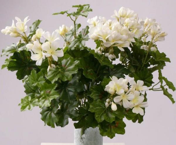 Geranien Kunstblume mit 116weißen Blüten, Höhe und Durch. ca. 40cm