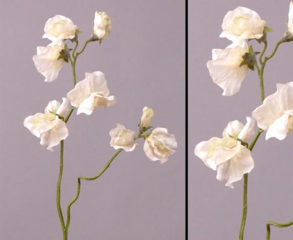Wicken Kunstblume, Lathyrus, Höhe 40cm, weiß