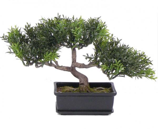 Teeblatt Bonsai Kunstpflanze in Schale mit 98 Blattzweigen Höhe 23cm