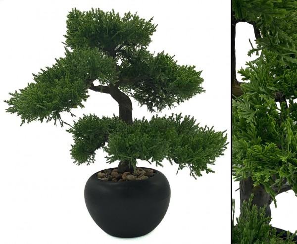 Kunstbaum Tisch Bonsai Zeder mit 33cm in schwarzen Keramiktopf
