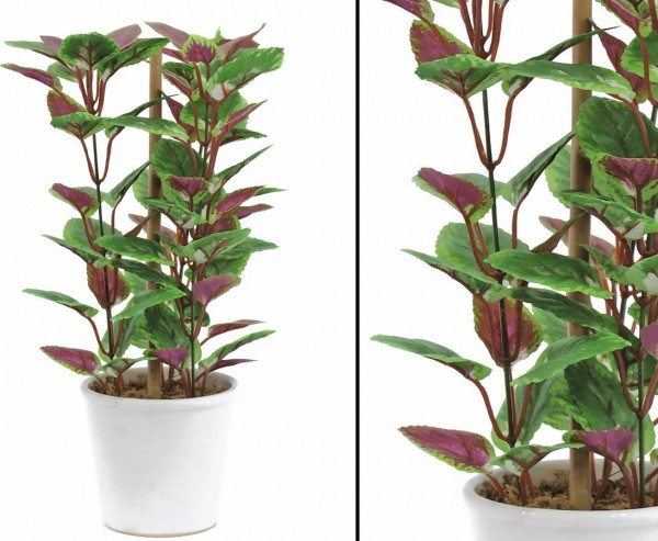 Coleus Kunstpflanze im Topf, Höhe 30cm, 72 Blätter