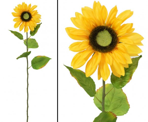 Künstliche Sonnenblume mit Blütenkopf Durch. 16cm, Länge 70cm