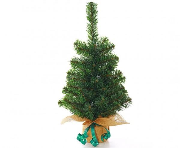 Künstlicher Weihnachtsbaum klein mit 60cm als Tischdekoration mit Jute-Fuss