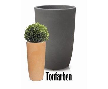 Blumenkübel aus Kunststoff Tonfarben Höhe 60cm, UV und Frost beständig, A1 Durch. 40cm