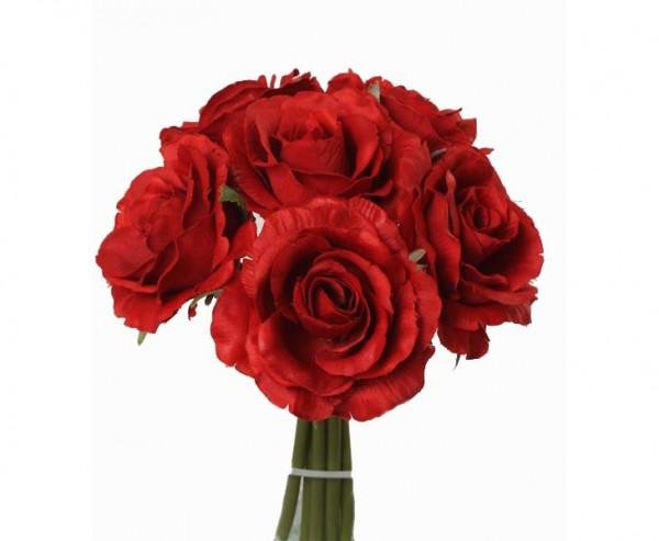Rosenstrauß, mit 6 Kunstblumen mit roter Blüte, Länge 20cm