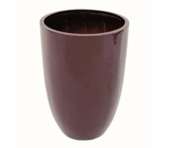 Pflanzgefäß braun glänzend, runde From aus Kunststoff mit Aluminium verstärkt, A1 Durch. 33cm, Höhe