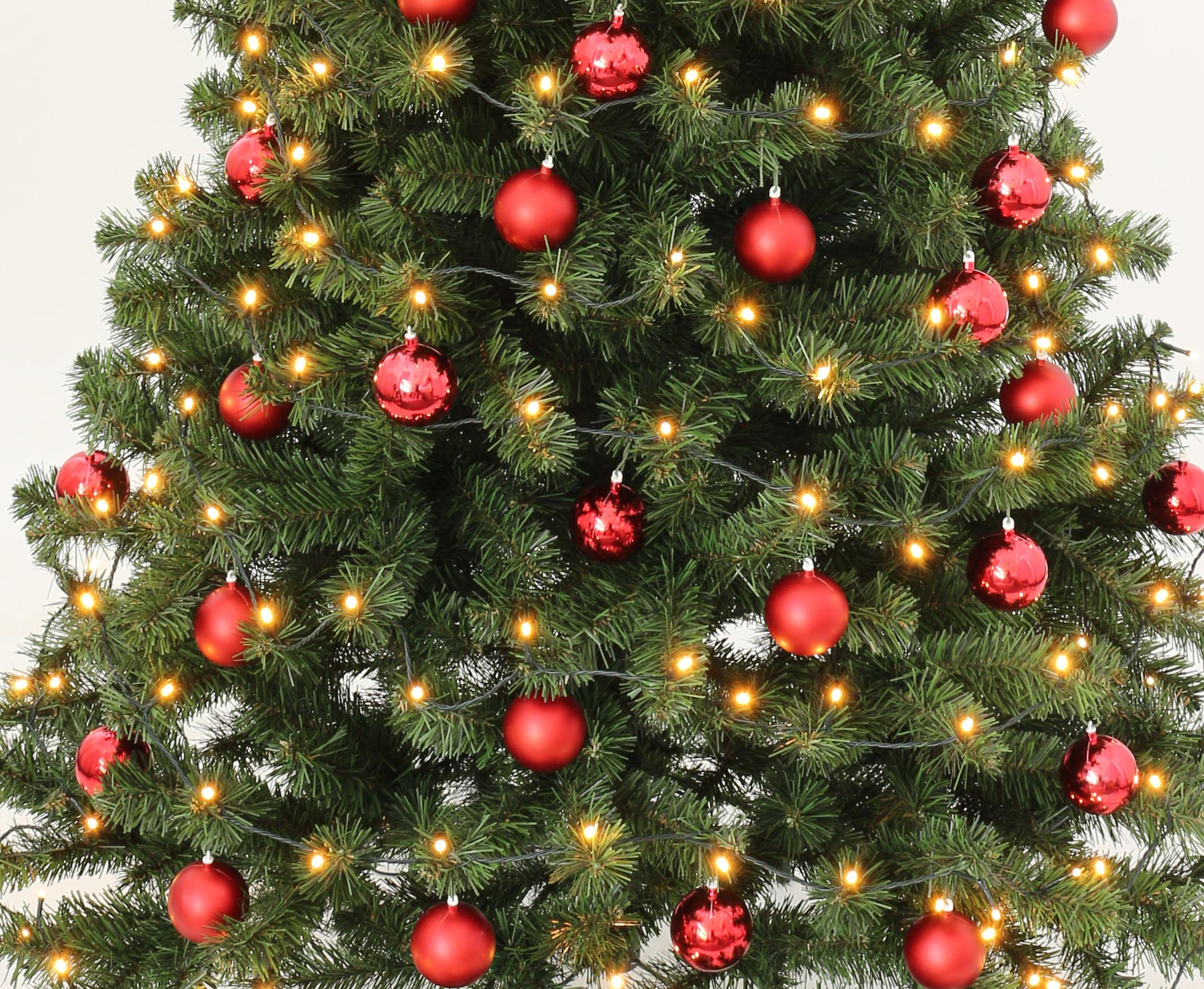 Durchmesser Weihnachtsbaum.Tannenbaum Schwer Entflammbar Mit Roten Kugeln Und Beleuchtung Höhe 180cm