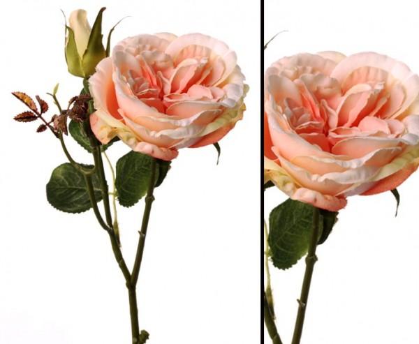 Kunstblume Rose mit weiß rosa farbiger Blüte, Länge 38cm